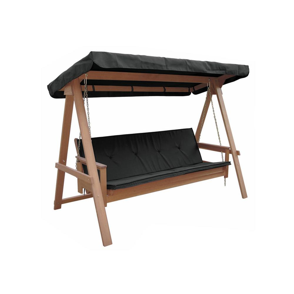 Lautan Avoca 3 Person Wood Porch Swing With Black Cushion For 3 Person Light Teak Oil Wood Outdoor Swings (View 9 of 25)
