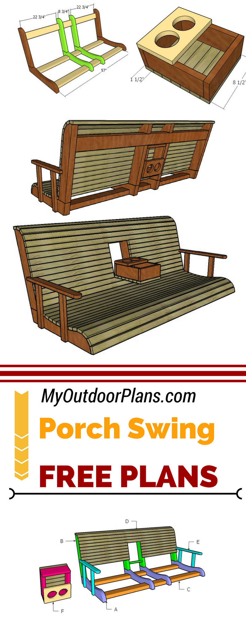 Learn How To Build A Porch Swing With Center Console Using Inside Canopy Patio Porch Swings With Pillows And Cup Holders (View 18 of 25)