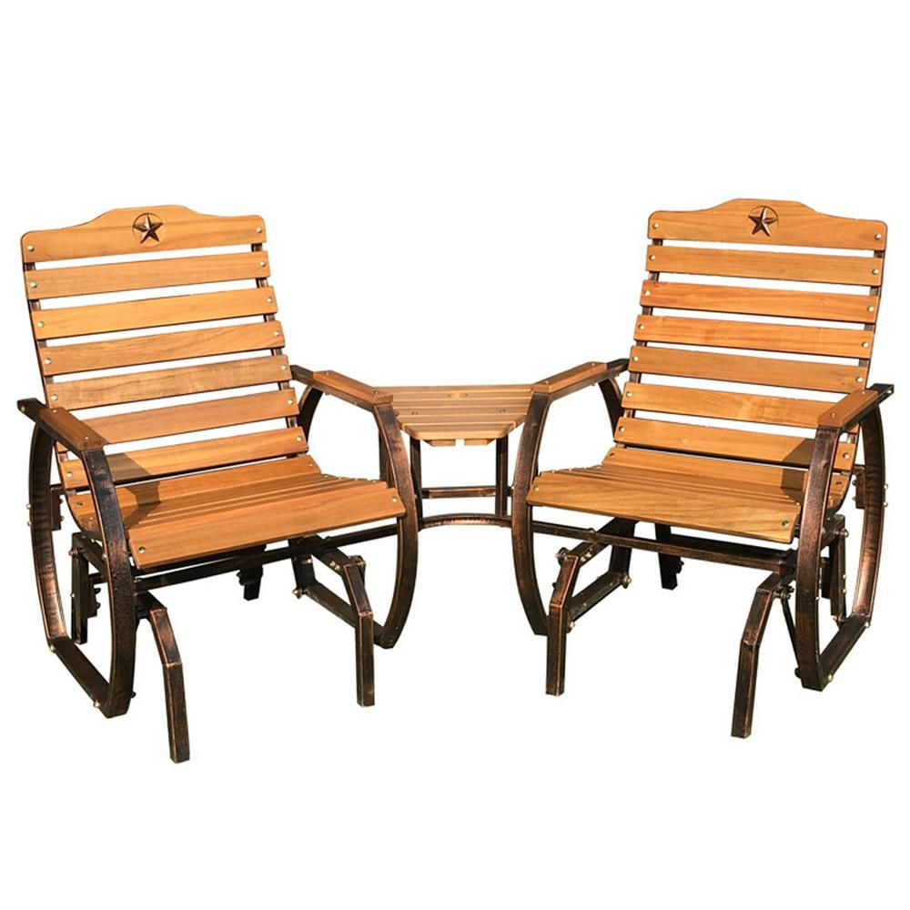 Leigh Country Tete A Tete Patio Glider With Table | Wooden Within Iron Grove Slatted Glider Benches (View 7 of 26)