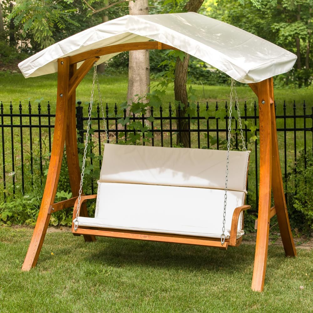 Leisure Season Wooden Patio Swing Seater With Canopy | Porch In Outdoor Canopy Hammock Porch Swings With Stand (View 14 of 25)