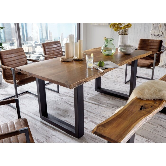Lemay Modern Live Edge Solid Wood Dining Table Intended For Unique Acacia Wood Dining Tables (Image 12 of 25)