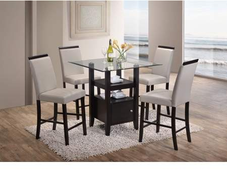 "Lenn 5 Piece Counter Height Dining Set, 35"" Square Intended For Bistro Transitional 4 Seating Square Dining Tables (View 2 of 25)"