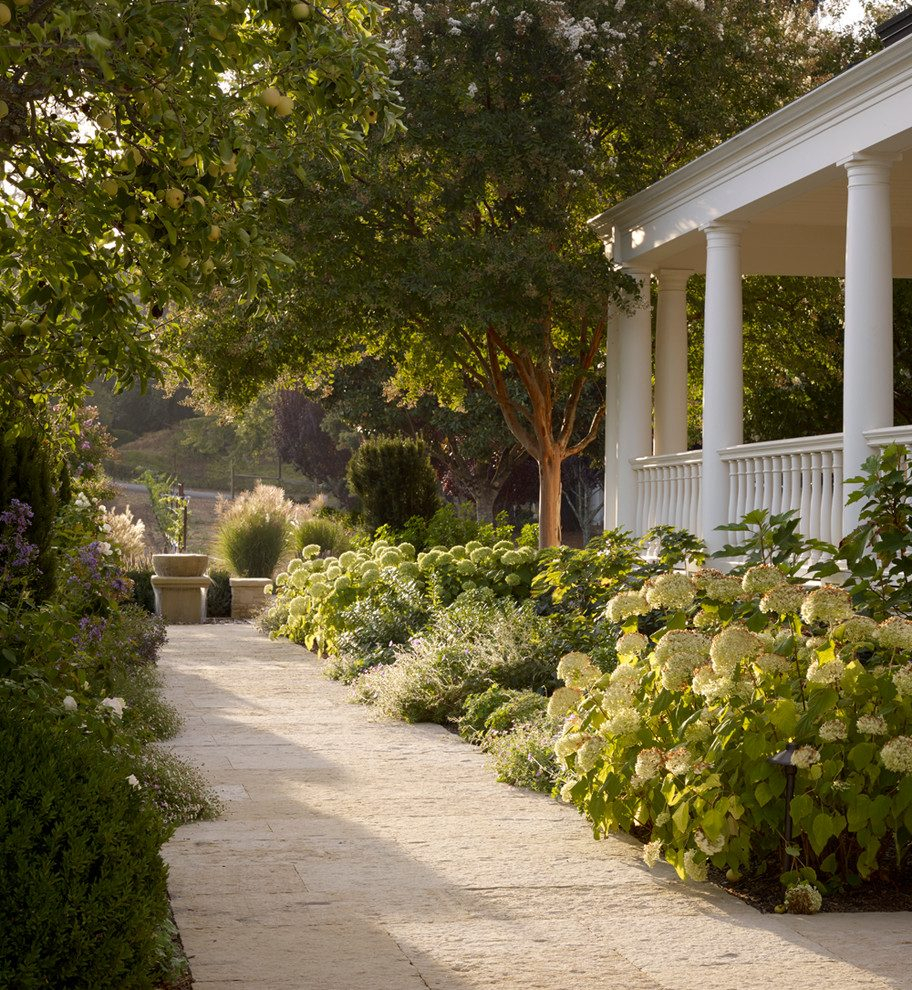Lilac Landscaping Landscape Farmhouse With White Columns Inside Teak Porch Swings (View 13 of 25)