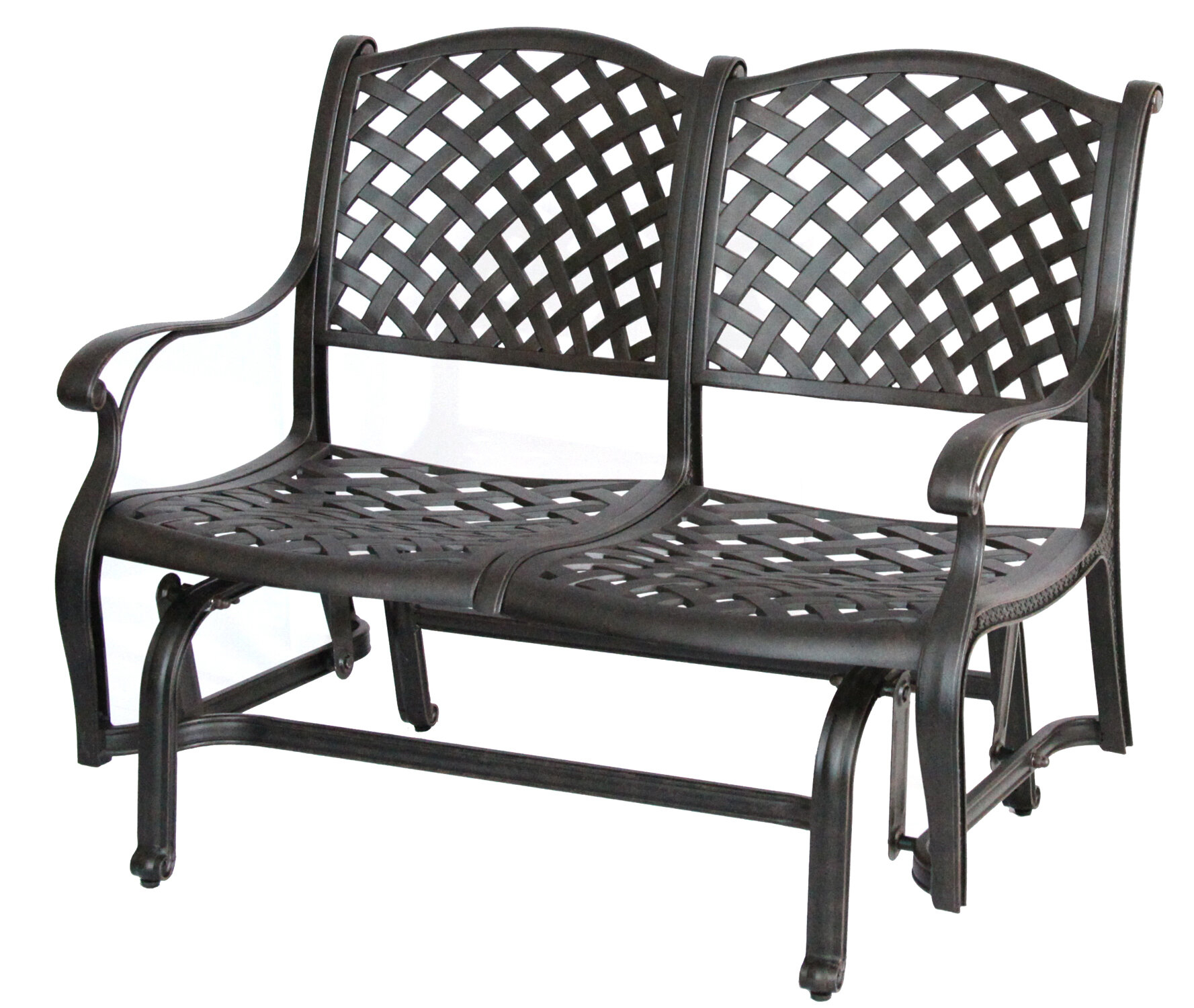 Lincolnville Aluminum Glider Bench With Cushion Pertaining To Glider Benches With Cushion (Image 20 of 25)
