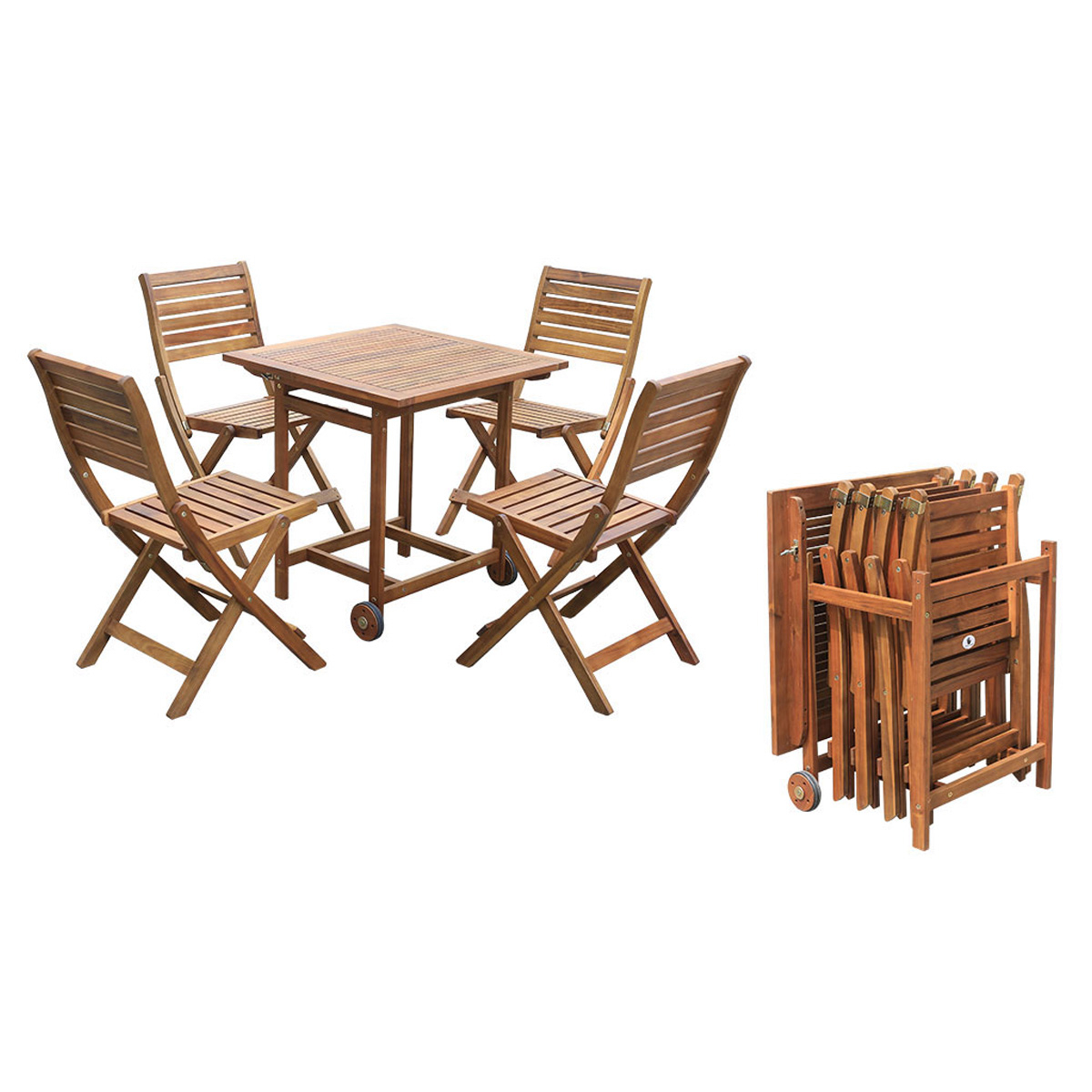 Linda Wooden Dining Set 4+1 Inside Outdoor Wicker Plastic Tear Porch Swings With Stand (View 23 of 25)