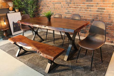 Live Edge Acacia Dining Table With Black X Legs/honey Walnut – Woodify With Regard To Acacia Dining Tables With Black X Legs (View 16 of 25)