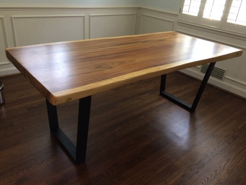 Live Edge Acacia Wood Slab Dining Table Top With Trapezoid Metal Base In Matte Black Finish Intended For Acacia Wood Dining Tables With Sheet Metal Base (View 4 of 25)