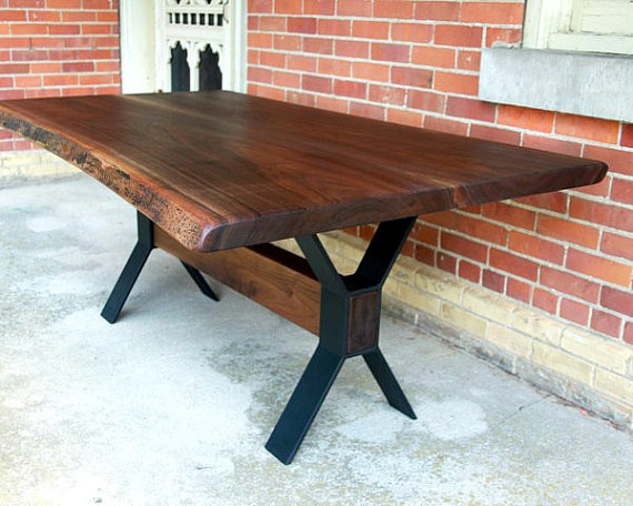 Live Edge Black Walnut Dining Table Custom Steel Legs Modern For Acacia Dining Tables With Black Victor Legs (Image 13 of 25)