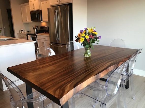 Live Edge Dining Table Made In A Modern Rustic Finish With For Walnut Finish Live Edge Wood Contemporary Dining Tables (Image 13 of 25)
