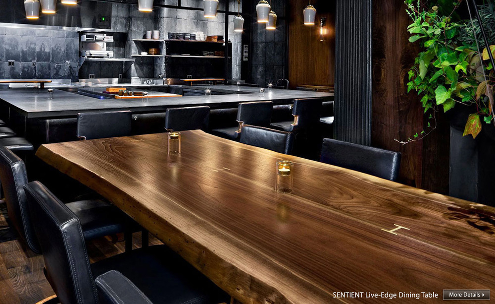 Live Edge Furniture – Tables, Chairs, Credenzas | Sentient Throughout Walnut Finish Live Edge Wood Contemporary Dining Tables (Image 14 of 25)