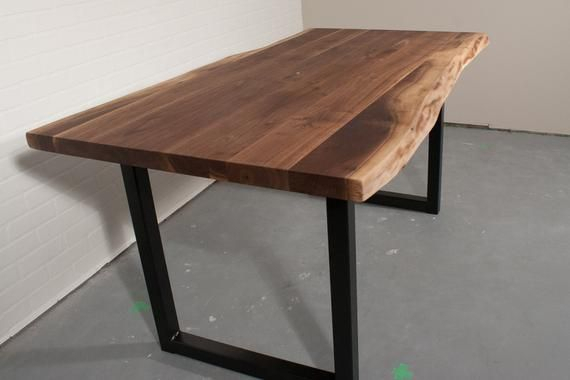 Live Edge Natural Walnut Dining Table On Square Steel Legs Intended For Walnut Finish Live Edge Wood Contemporary Dining Tables (Image 15 of 25)