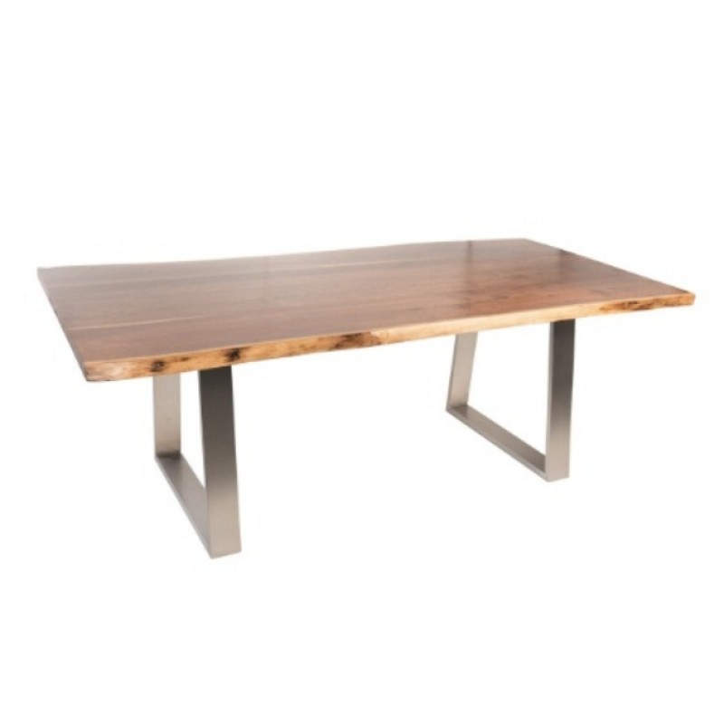 """Live Edge North American Walnut Dining Table, 84"""", Satin Walnut Finish Throughout Walnut Finish Live Edge Wood Contemporary Dining Tables (Image 16 of 25)"""