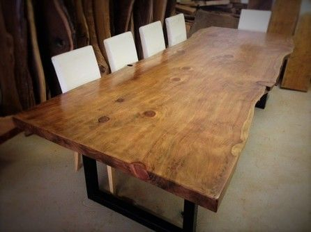 Live Edge Sequoia/redwood Dining Table With Black U Shape For Dining Tables With Black U Legs (View 5 of 25)