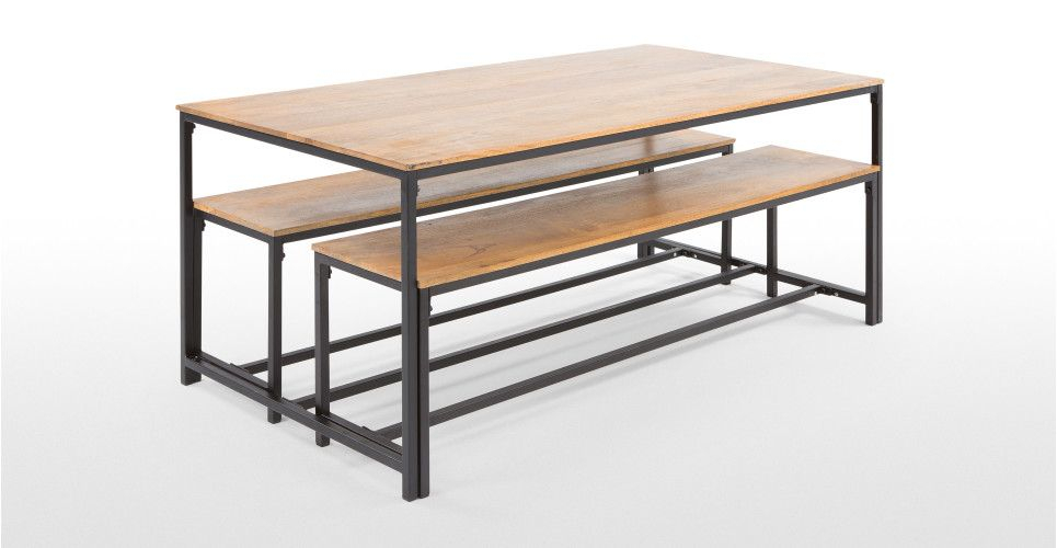 Lomond Dining Set, Natural Mango Wood And Black Metal For Iron Dining Tables With Mango Wood (View 22 of 25)