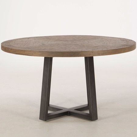 """Long Beach Wood And Iron Round Dining Table 54"""" 