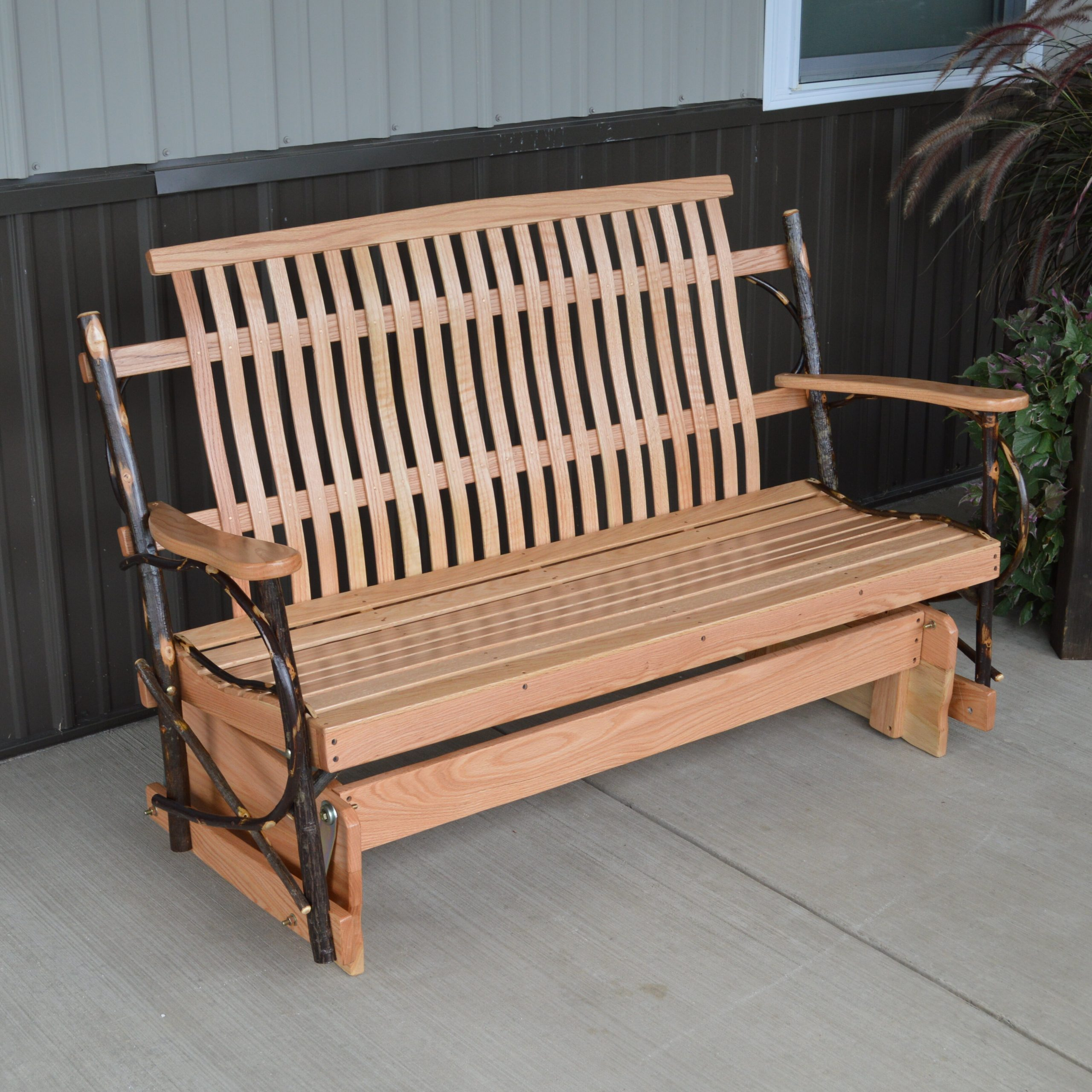 Loon Peak Valeria Hickory Porch Glider Bench | Wayfair Throughout Cedar Colonial Style Glider Benches (View 3 of 25)