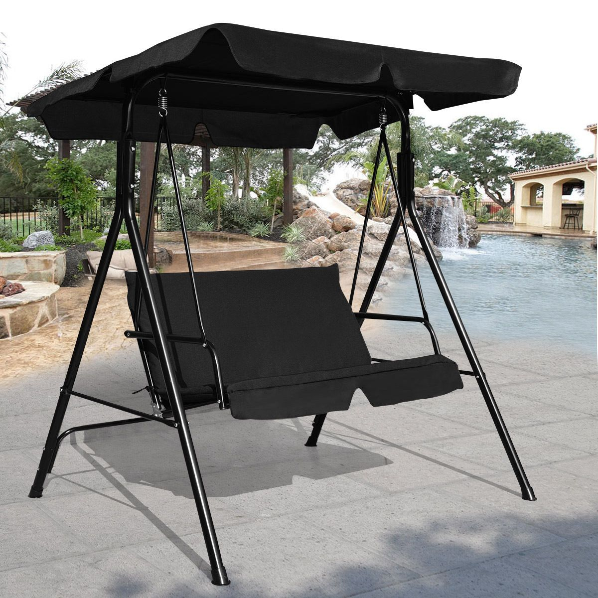 Love Seat Patio Canopy Swing Black | Patio Loveseat, Porch In 2 Person Hammock Porch Swing Patio Outdoor Hanging Loveseat Canopy Glider Swings (View 24 of 25)