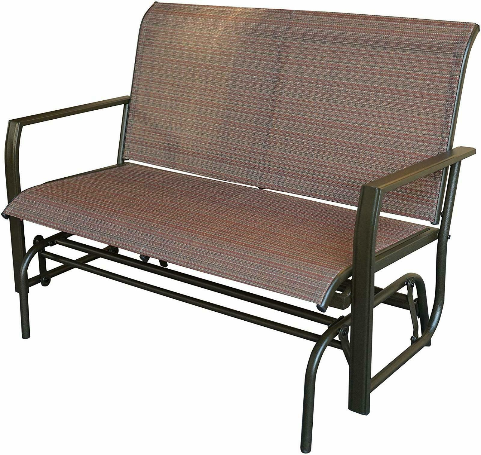Love Seat Swing Bench For Patio Textile And Sturdy Frame Glider Rocker Tan Brown Within Rocking Love Seats Glider Swing Benches With Sturdy Frame (View 3 of 25)