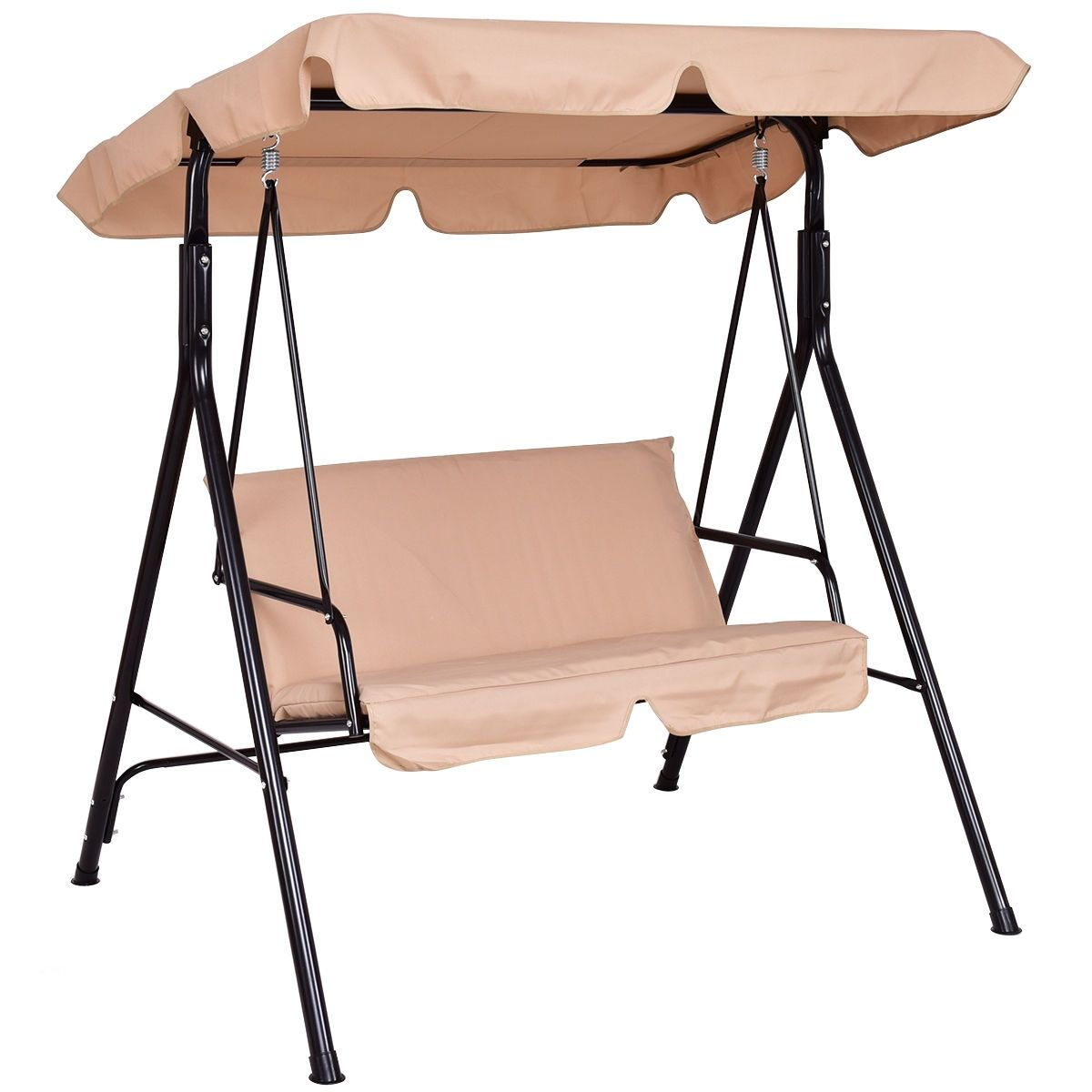 Love Seat Swing With Patio Canopy | Canopy Swing, Outdoor Intended For Patio Loveseat Canopy Hammock Porch Swings With Stand (Image 18 of 25)