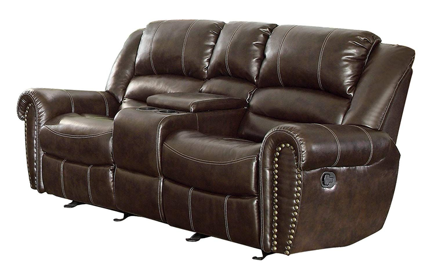 Loveseat Recliner Leather | Leather Reclining Sofa, Leather Pertaining To Double Glider Loveseats (Image 17 of 25)