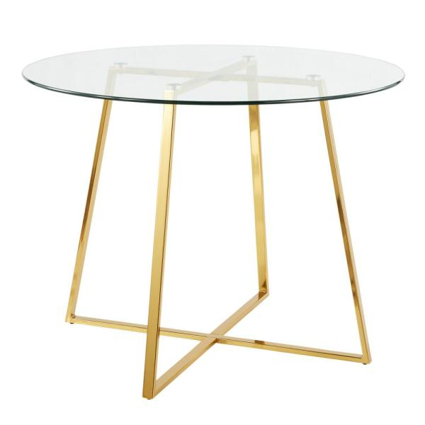 Lumisource Cosmo Round Dining Table In Gold With Clear Glass Intended For Frosted Glass Modern Dining Tables With Grey Finish Metal Tapered Legs (View 23 of 25)