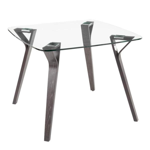 Lumisource Folia Mid Century Dark Grey Wood And Clear Glass Within Frosted Glass Modern Dining Tables With Grey Finish Metal Tapered Legs (View 17 of 25)