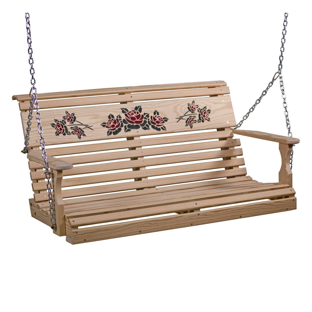 Luxcraft Wood Rollback Rose Swing 4' To 5' Regarding Plain Porch Swings (View 18 of 25)