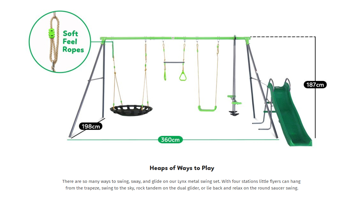 Lynx Metal Swing Set With Slide | Lifespan Kids With Dual Rider Glider Swings With Soft Touch Rope (View 24 of 25)