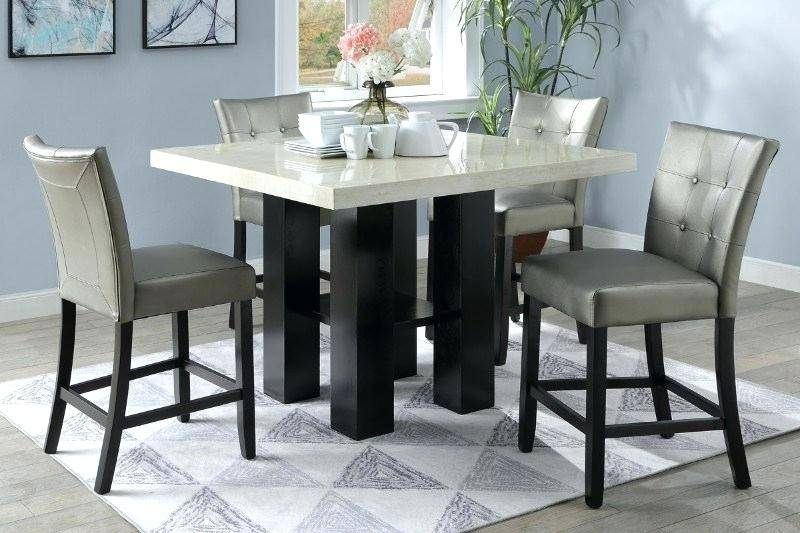 Magnificent Faux Marble Top Counter Height Dining Table Set Intended For Faux Marble Finish Metal Contemporary Dining Tables (View 20 of 25)
