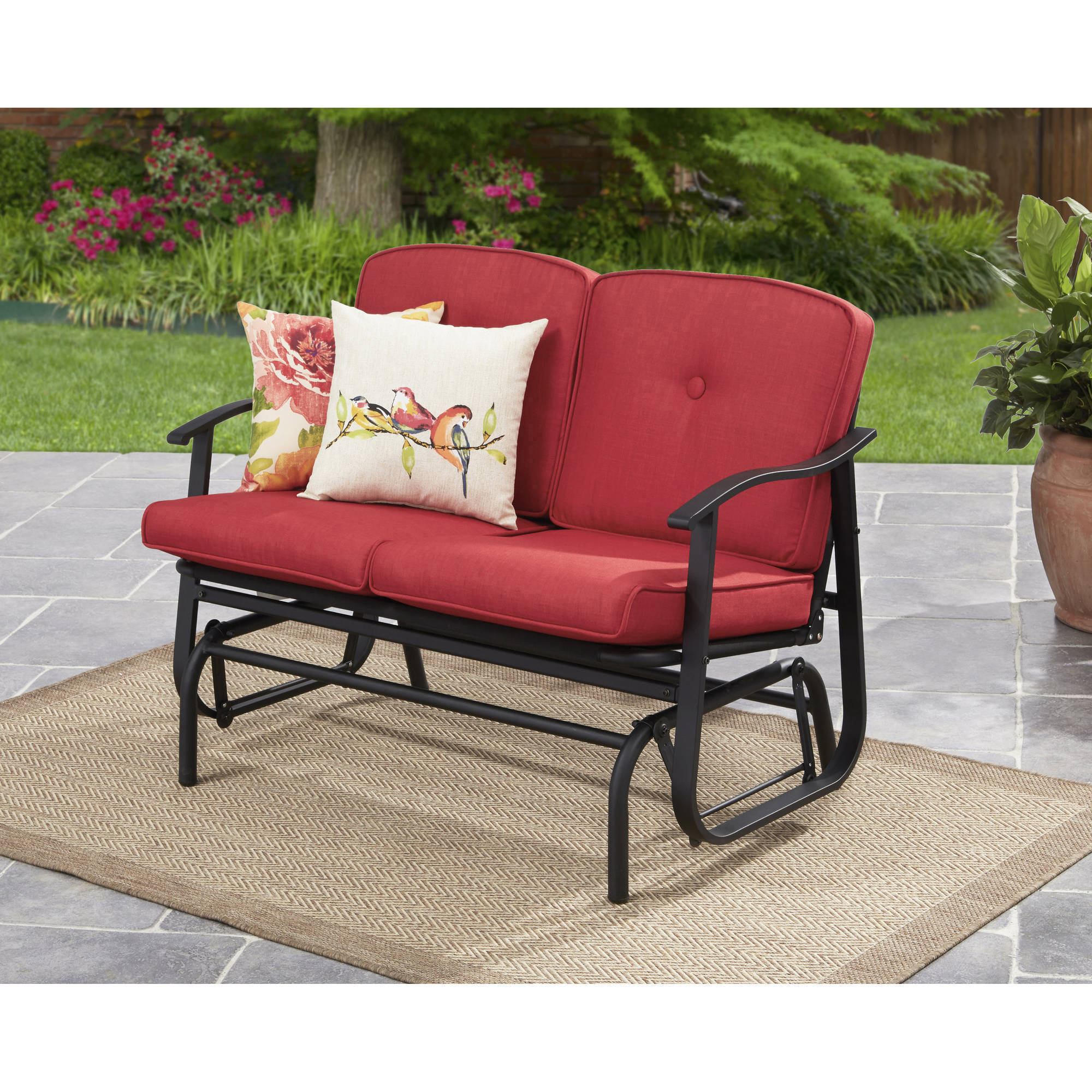 Mainstays Belden Park Outdoor Loveseat Glider With Cushion – Walmart Throughout Glider Benches With Cushions (View 16 of 25)