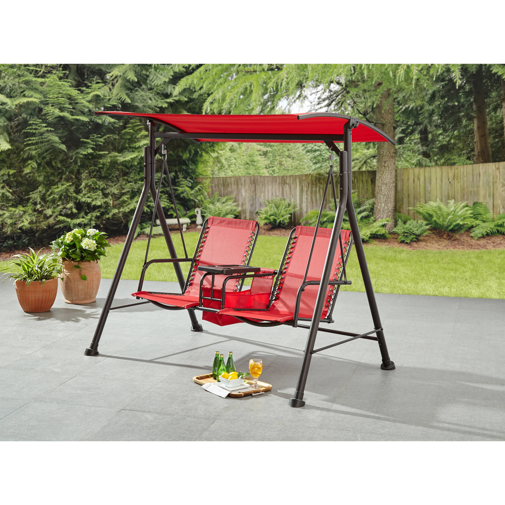 Mainstays Big And Tall 2 Person Bungee Canopy Porch Swing – Walmart Regarding Canopy Porch Swings (View 23 of 25)