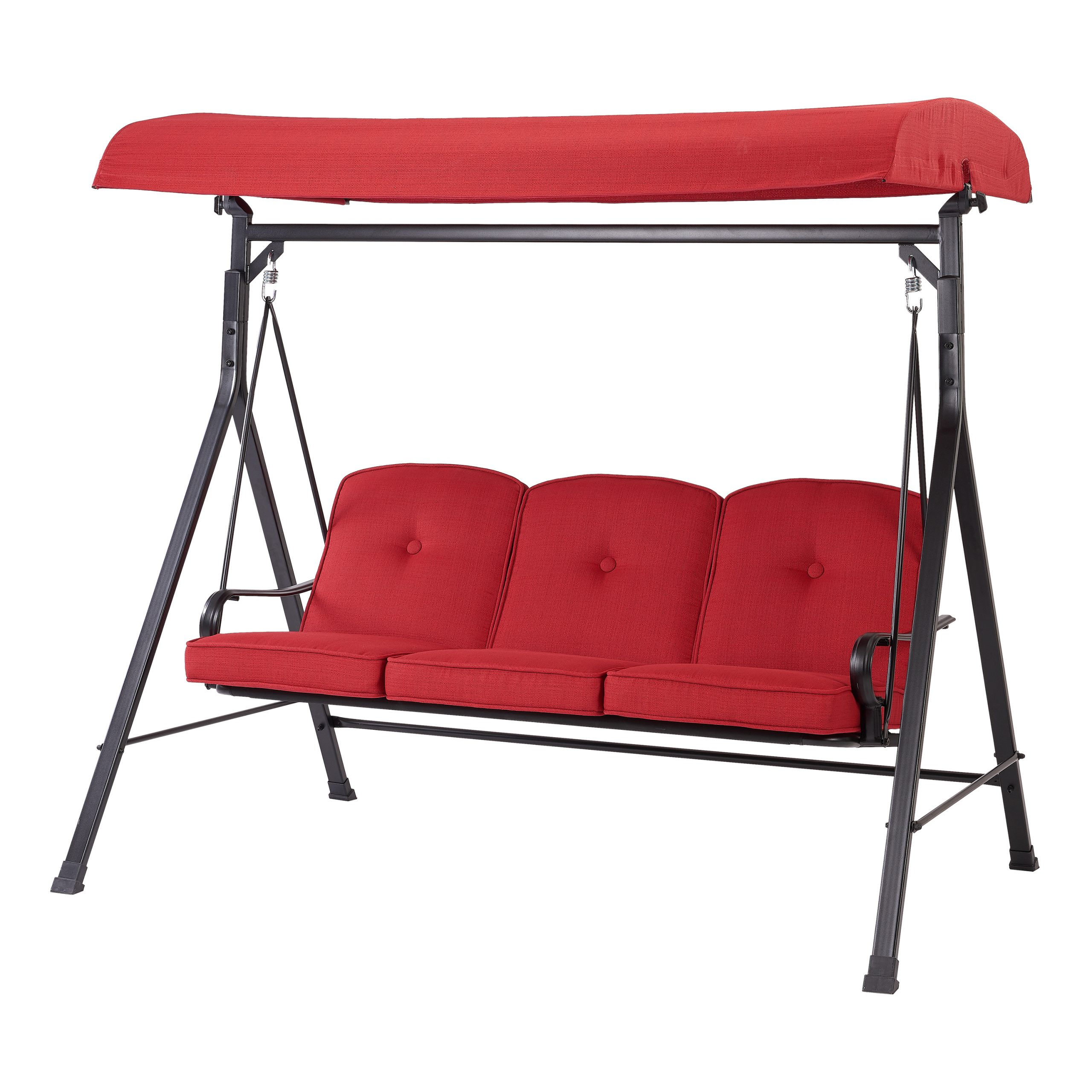 Mainstays Carson Creek Outdoor 3 Seat Porch Swing With Canopy, Red – Walmart In 3 Person Red With Brown Powder Coated Frame Steel Outdoor Swings (View 6 of 25)