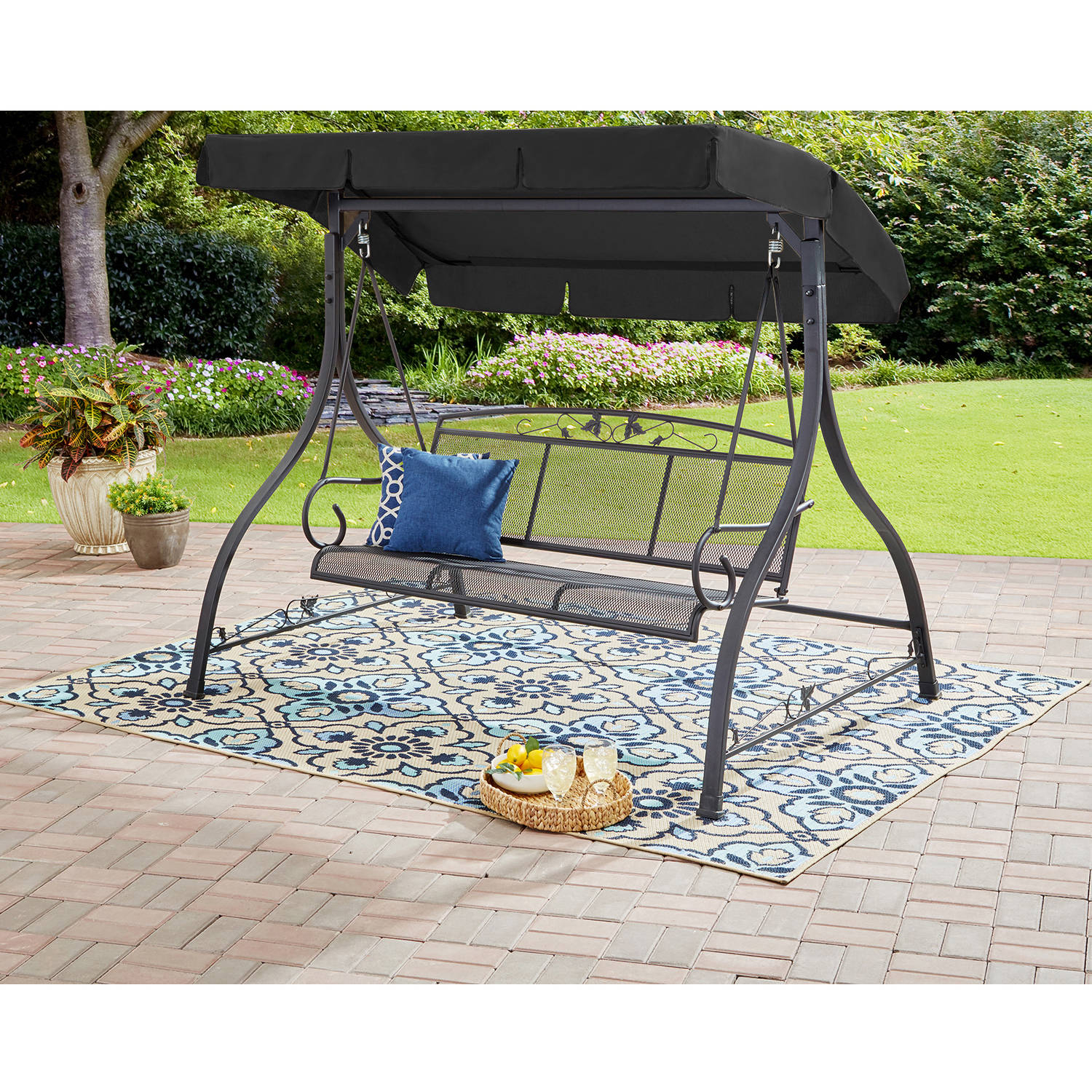Mainstays Jefferson 3 Person Outdoor Canopy Porch Swing – Walmart Inside Canopy Porch Swings (Image 15 of 25)