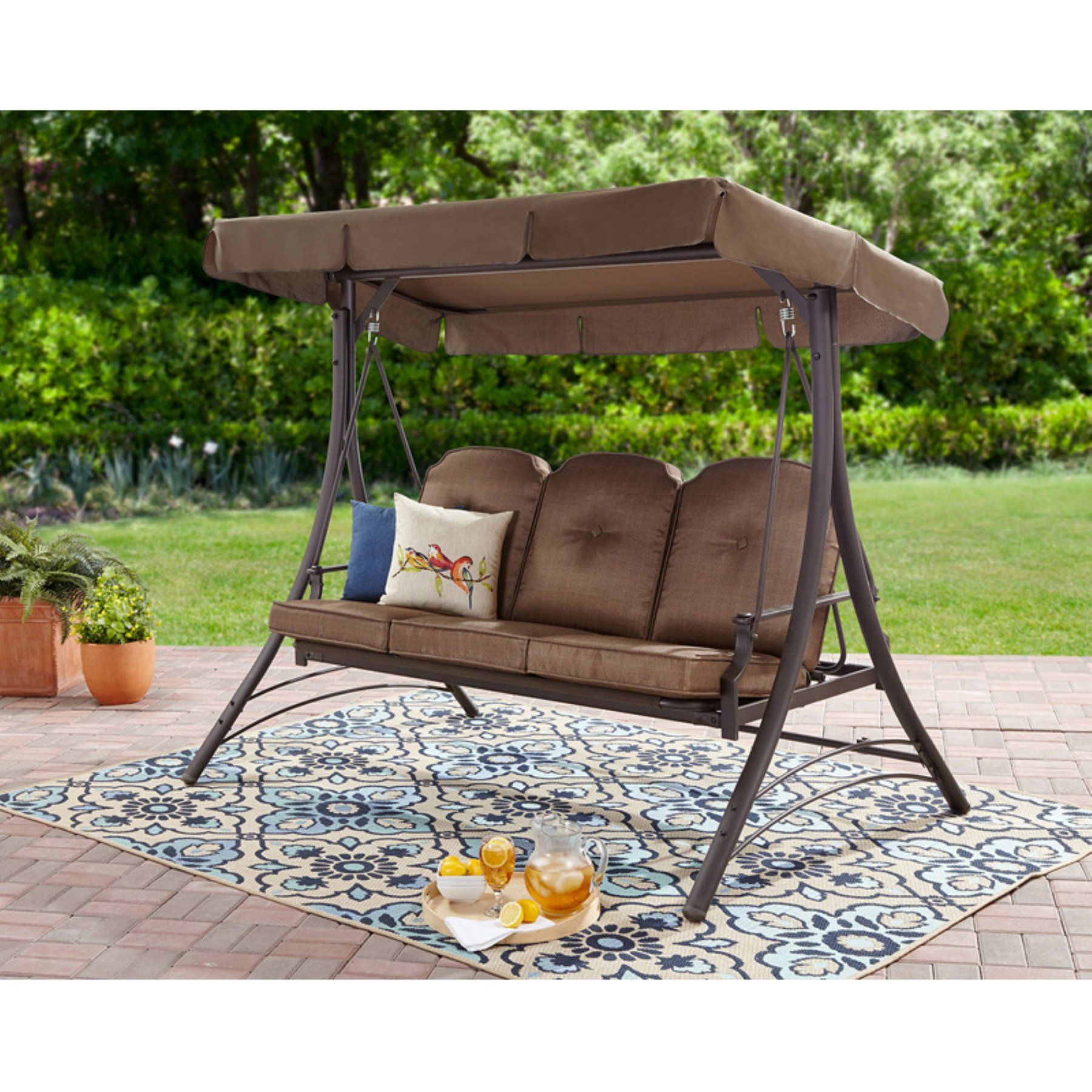 Mainstays Wentworth 3 Person Porch Swing Frame Set With Regarding 3 Seats Patio Canopy Swing Gliders Hammock Cushioned Steel Frame (Image 18 of 25)