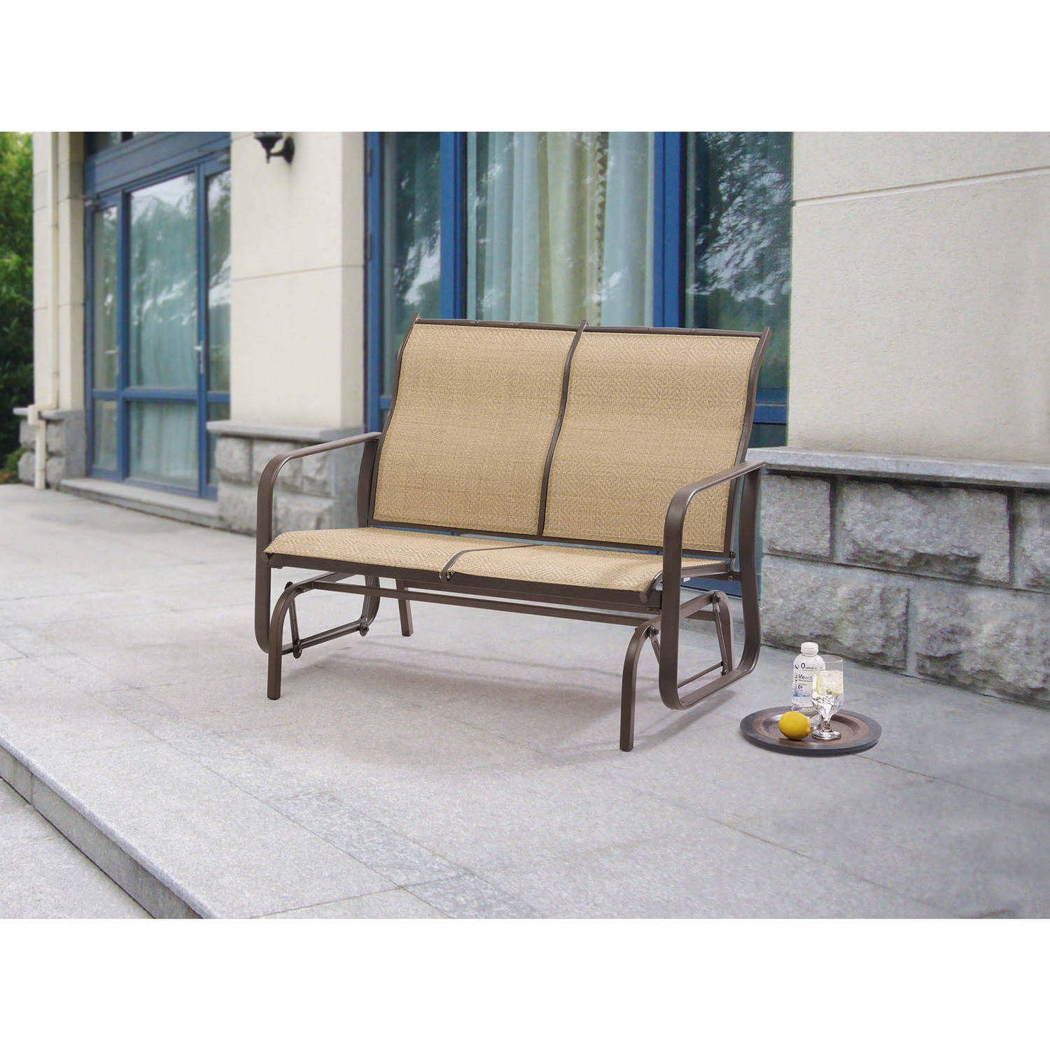 Mainstays Wesley Creek 2 Seat Outdoor Sling Seat Glider Throughout Metal Powder Coat Double Seat Glider Benches (View 22 of 25)