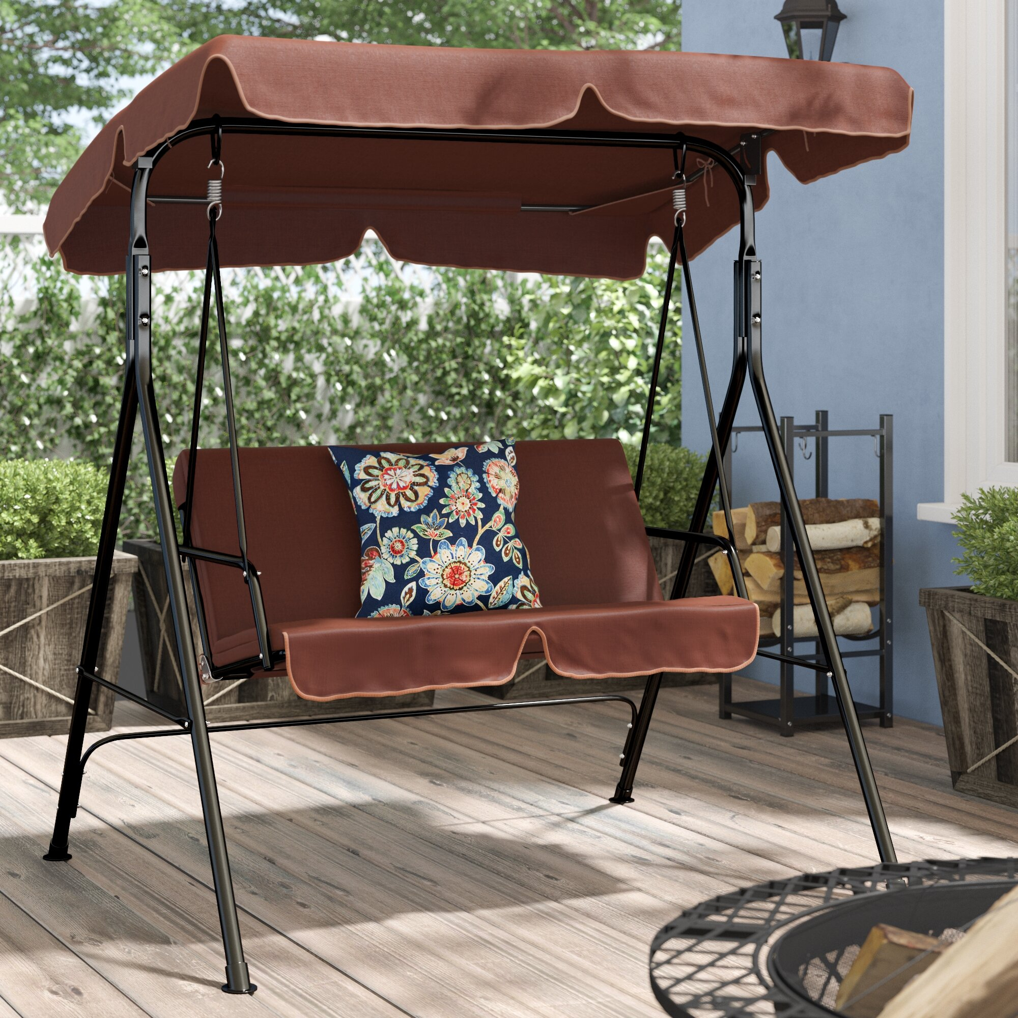 Featured Image of Patio Loveseat Canopy Hammock Porch Swings With Stand