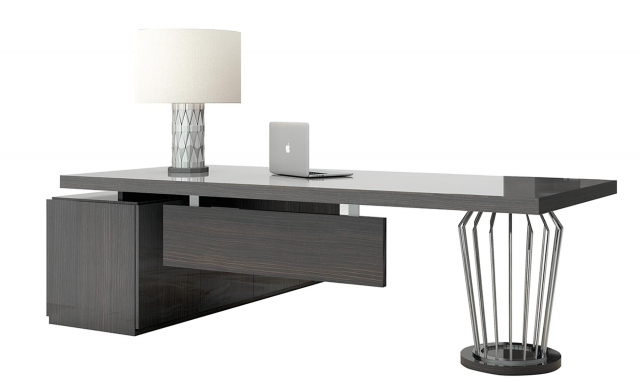 Marbella – Desk In Fumed Oak High Gloss Finish With Fumed Oak Dining Tables (View 25 of 25)