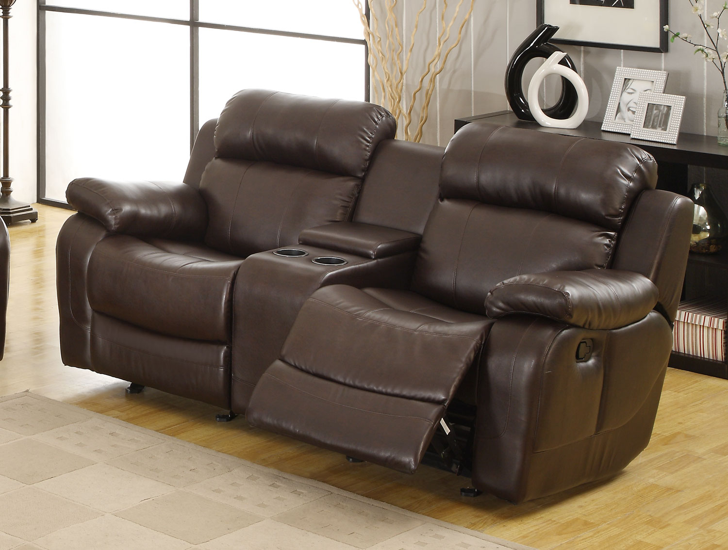 Marille Dark Brown Double Glider Reclining Loveseat For Double Glider Loveseats (Image 18 of 25)