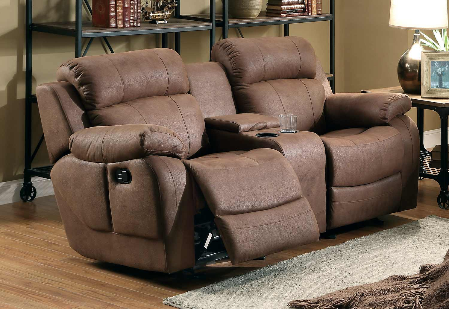 Marille Dark Brown Fabric Double Glider Reclining Loveseat W Within Double Glider Loveseats (Image 19 of 25)