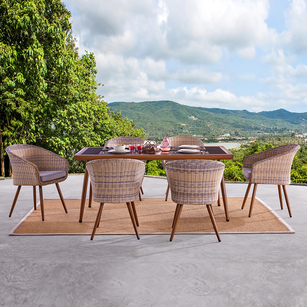 Martini 6 Seater Dining Intended For Outdoor Wicker Plastic Tear Porch Swings With Stand (View 22 of 25)