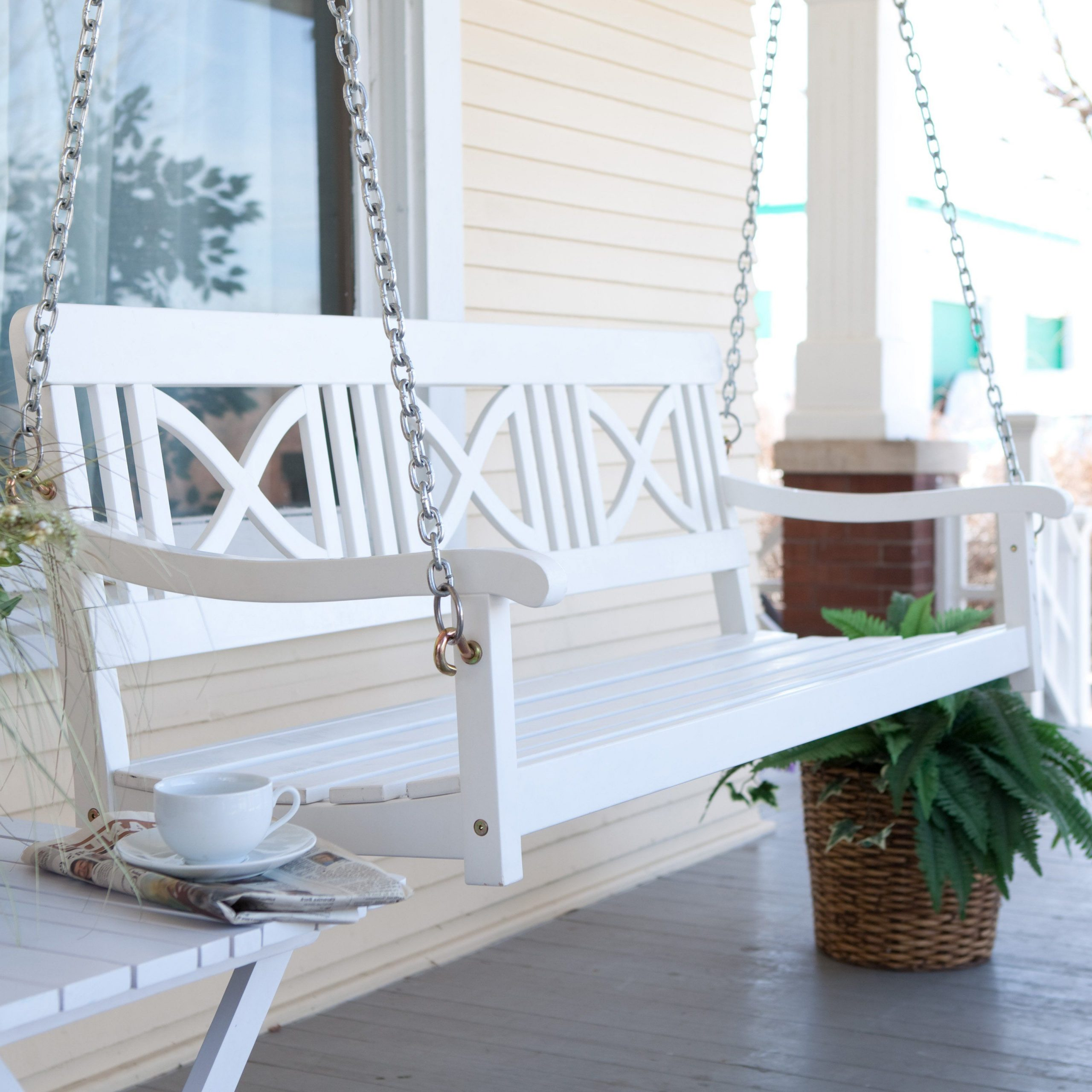 Matera Crossback Painted Wood Porch Swing – White $ (View 4 of 25)