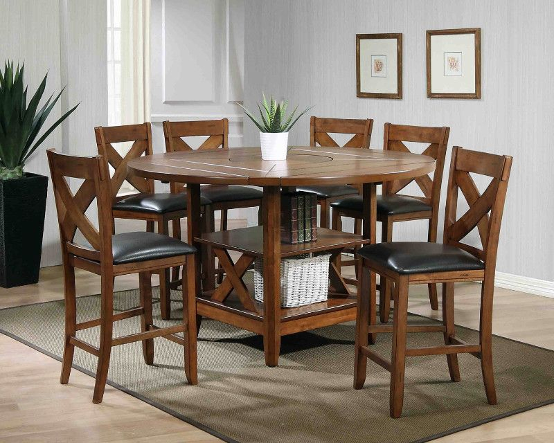 Mc Ferran Mf Alod4660 7Pc 7 Pc Lodge Brown Finish Wood With Transitional Drop Leaf Casual Dining Tables (View 7 of 26)