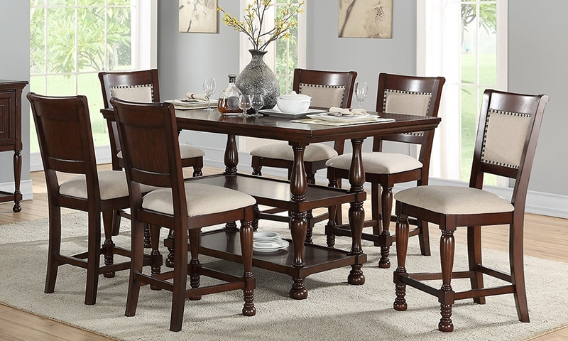 Mcgregor Counter Height Storage Dining Set With Chairs Inside Transitional 6 Seating Casual Dining Tables (Image 18 of 25)