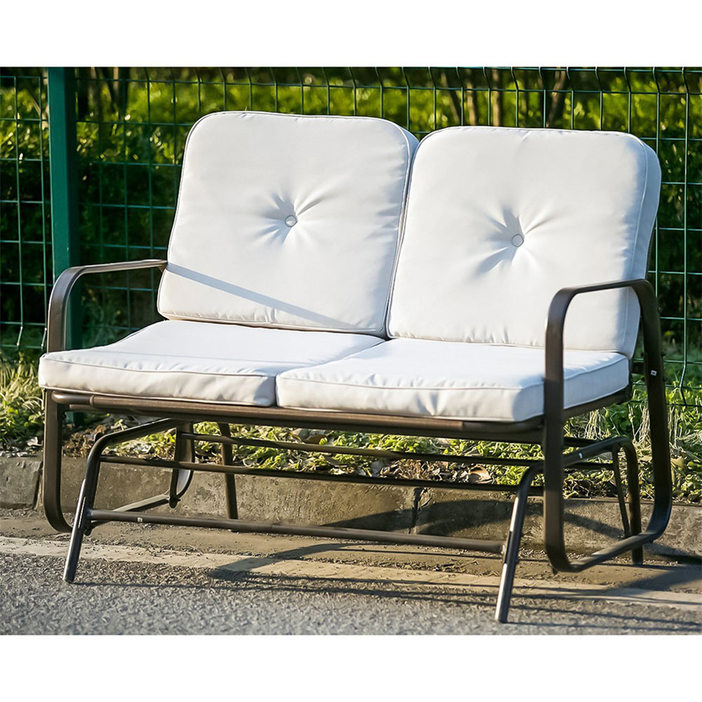 Merax Patio Outdoor Bench Loveseat Glider Rocking Chair In Loveseat Glider Benches With Cushions (View 9 of 25)