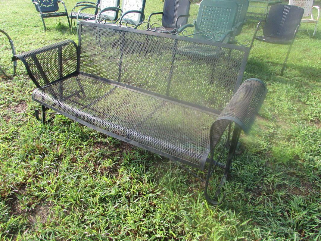 Mesh Glider With Curved Arms | Porch Glider, Gliders, Porch In 1 Person Antique Black Steel Outdoor Gliders (View 11 of 25)