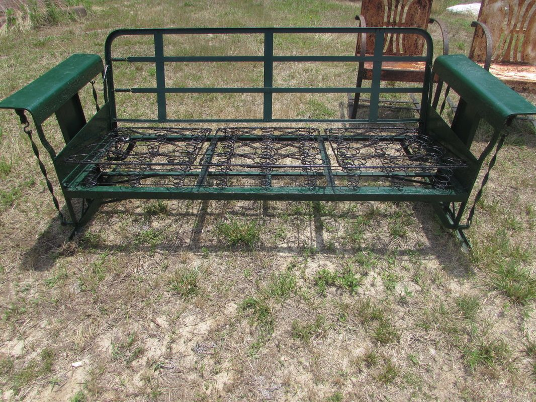 Metal Vintage Cushioned Porch Gliders,old Metal Gliders With Cushioned Glider Benches With Cushions (View 3 of 27)