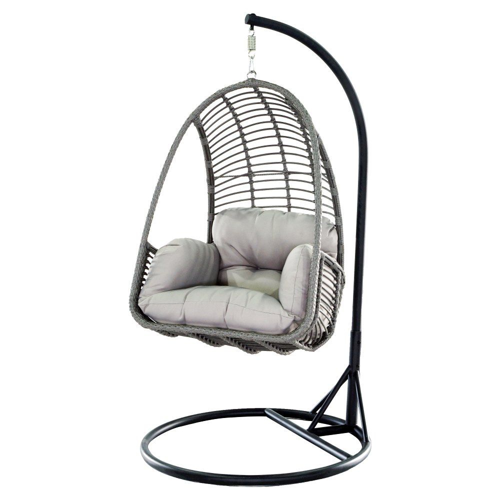 Metal Wicker Outdoor Hanging Chair With Cushion | Rc Willey With Regard To Outdoor Wicker Plastic Tear Porch Swings With Stand (View 8 of 25)