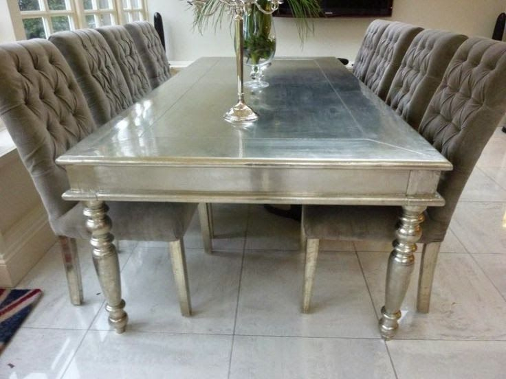 Metallic Furniture: Sassy Silver Dining Table | Silver With Distressed Grey Finish Wood Classic Design Dining Tables (Image 19 of 25)