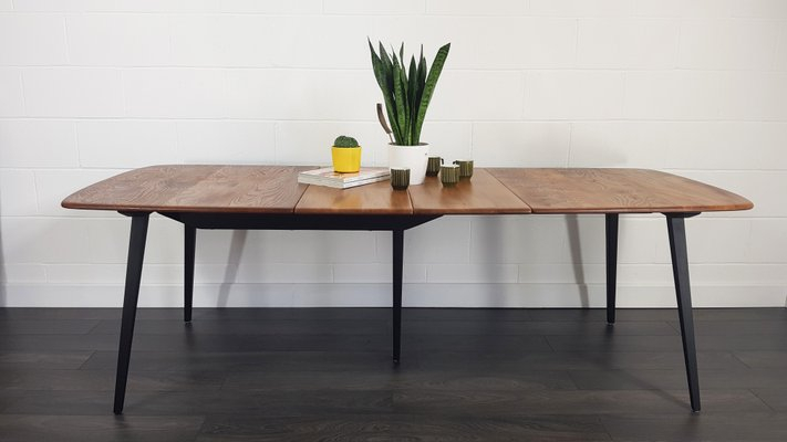 Mid Century Extendable Dining Table With Black Legslucian Ercolani For Ercol, 1960S Inside Dining Tables With Black U Legs (View 6 of 25)