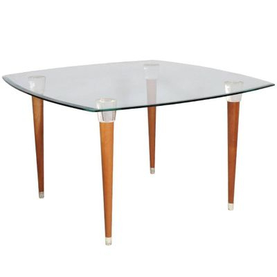 Mid Century Table In Walnut With Glass Top, Turned Legs, & Heads Murano  Glass In Mid Century Rectangular Top Dining Tables With Wood Legs (Image 19 of 25)